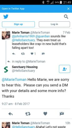 The standard Sanctuary social media reply....